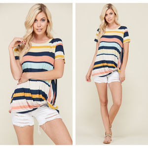 NEW Navy & Multi-Color Striped Side Knot Top